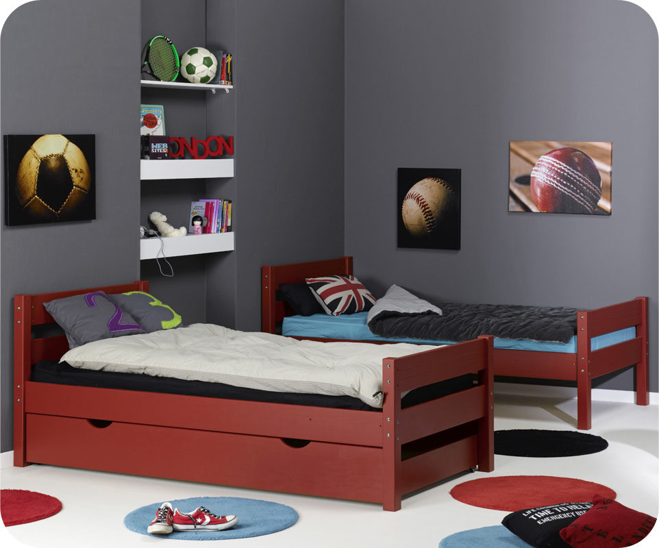 pack lit superpos kids rouge 90x190 cm avec 2 matelas. Black Bedroom Furniture Sets. Home Design Ideas