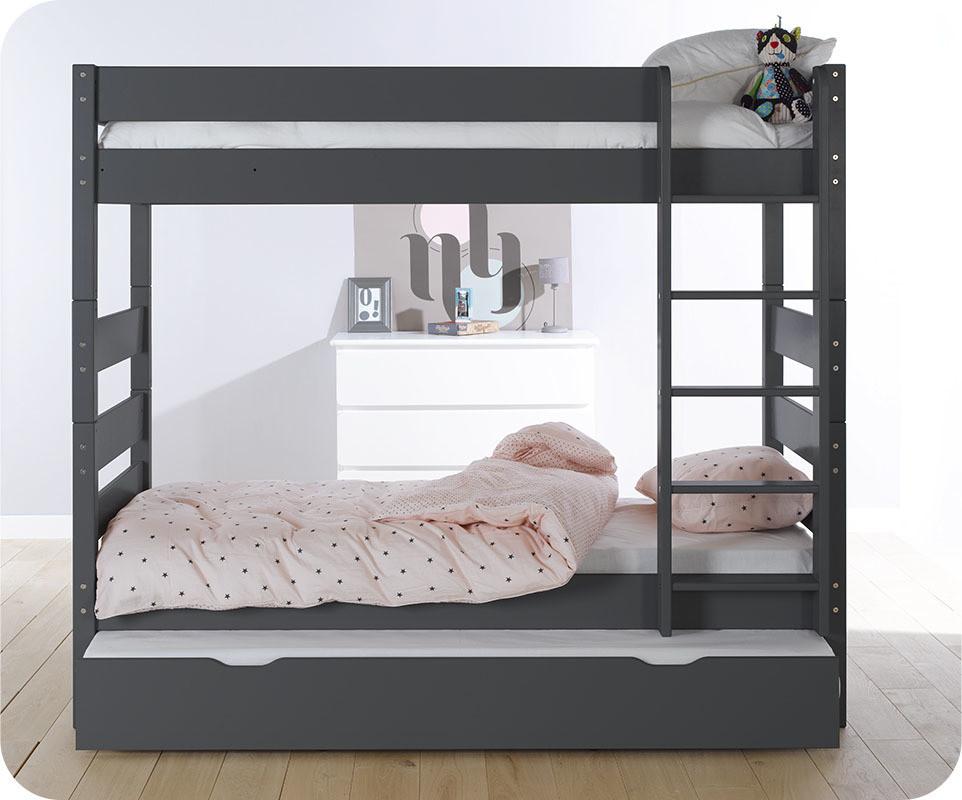 pack lit superpos kids gris anthracite 90x190 cm avec 2 matelas. Black Bedroom Furniture Sets. Home Design Ideas