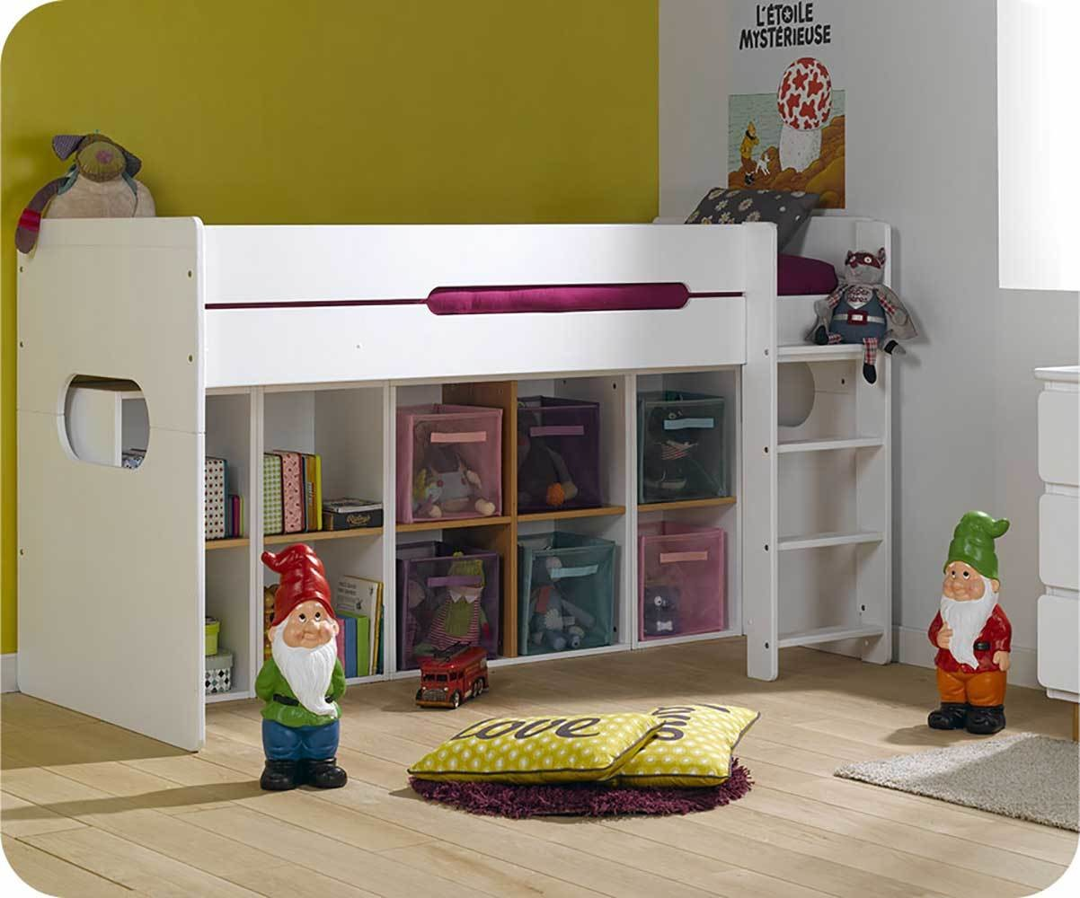 pack lit enfant mi hauteur spark blanc 90x200 cm avec matelas. Black Bedroom Furniture Sets. Home Design Ideas
