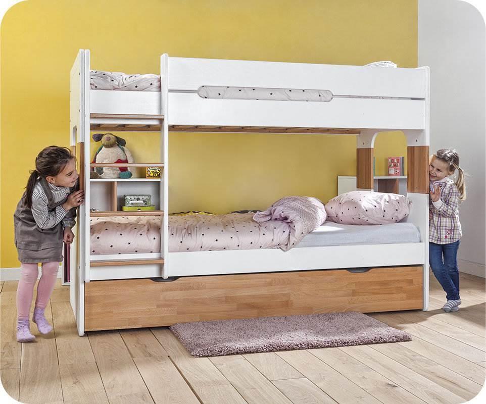 lit superpos enfant spark blanc et h tre naturel 90x200 cm. Black Bedroom Furniture Sets. Home Design Ideas