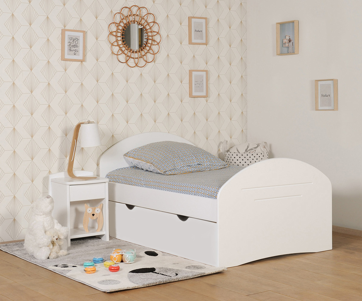 pack lit enfant volutif spoom blanc avec tiroir de lit et. Black Bedroom Furniture Sets. Home Design Ideas