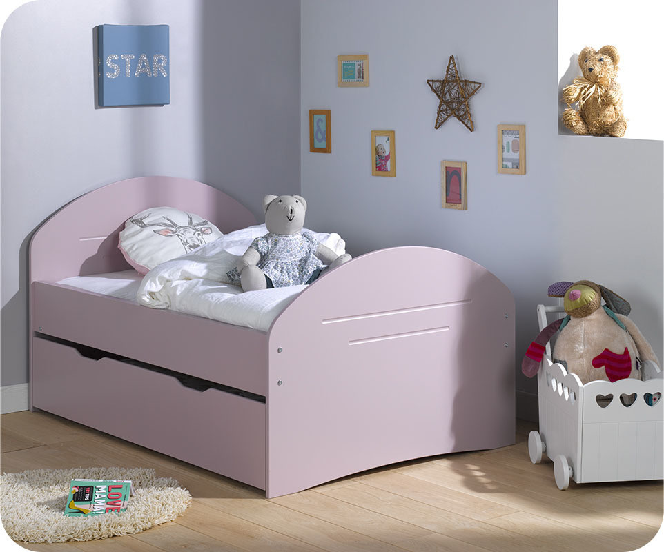 pack lit enfant volutif spoom vieux rose avec tiroir de. Black Bedroom Furniture Sets. Home Design Ideas