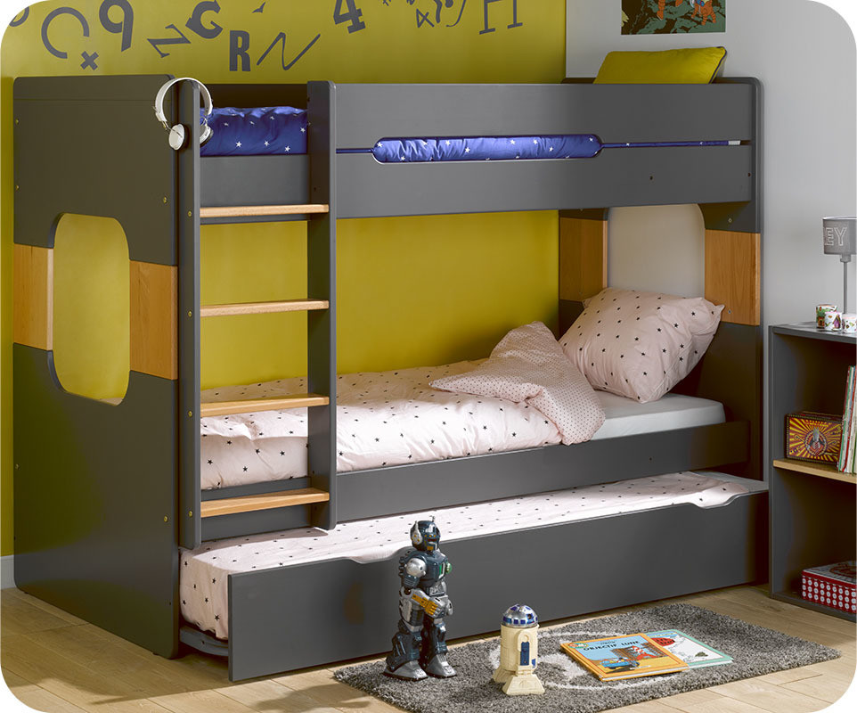 lit superpos spark gris et h tre 90x200 cm avec sommier. Black Bedroom Furniture Sets. Home Design Ideas