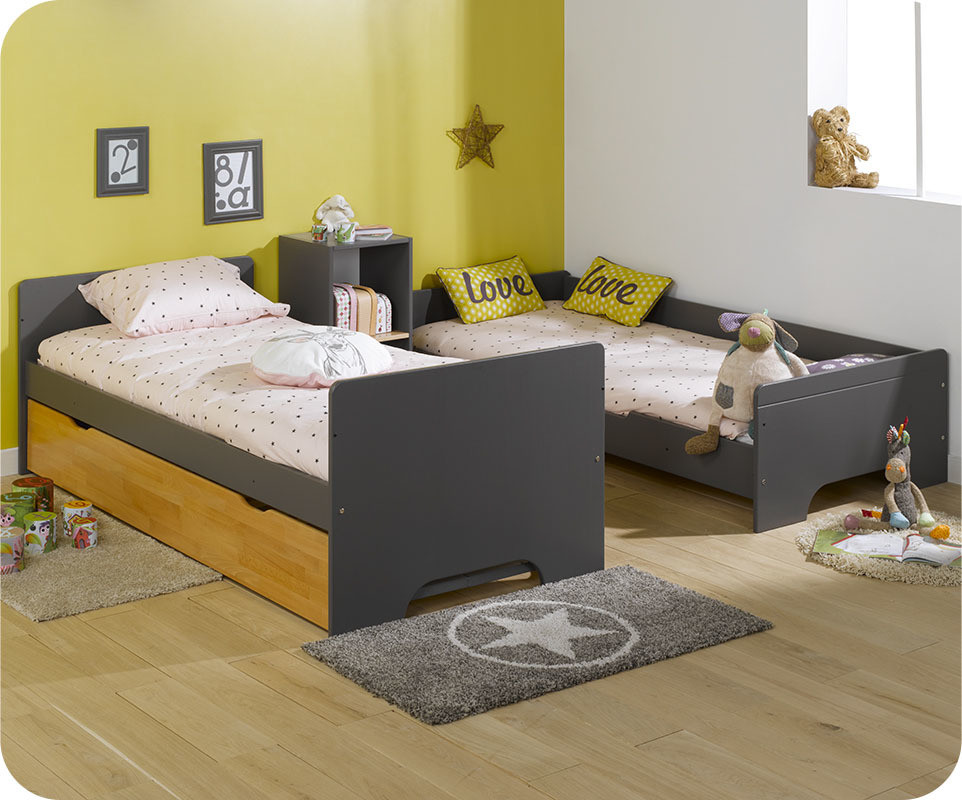 lit superpos spark gris et h tre 90x200 cm avec sommier gigogne h tre. Black Bedroom Furniture Sets. Home Design Ideas