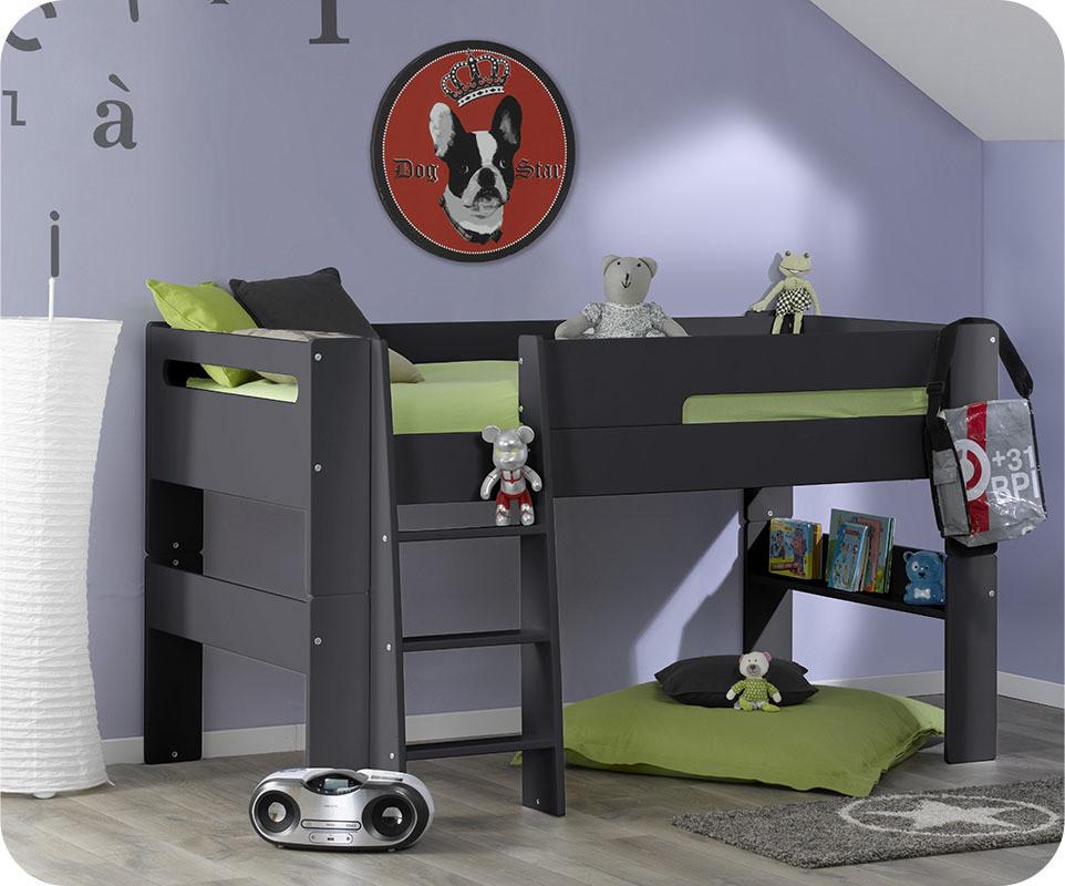 Lit mezzanine enfant wax gris anthracite 90x190 cm for Chambre mezzanine enfant
