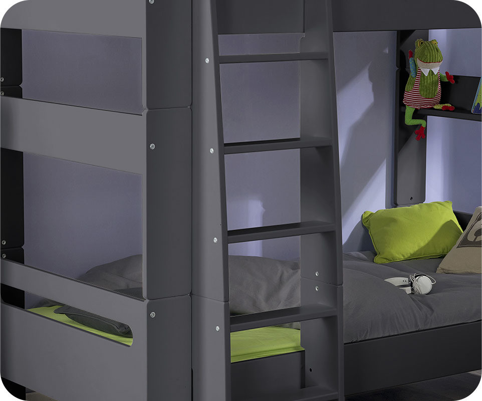 lit superpos enfant wax gris anthracite 90x190 cm. Black Bedroom Furniture Sets. Home Design Ideas