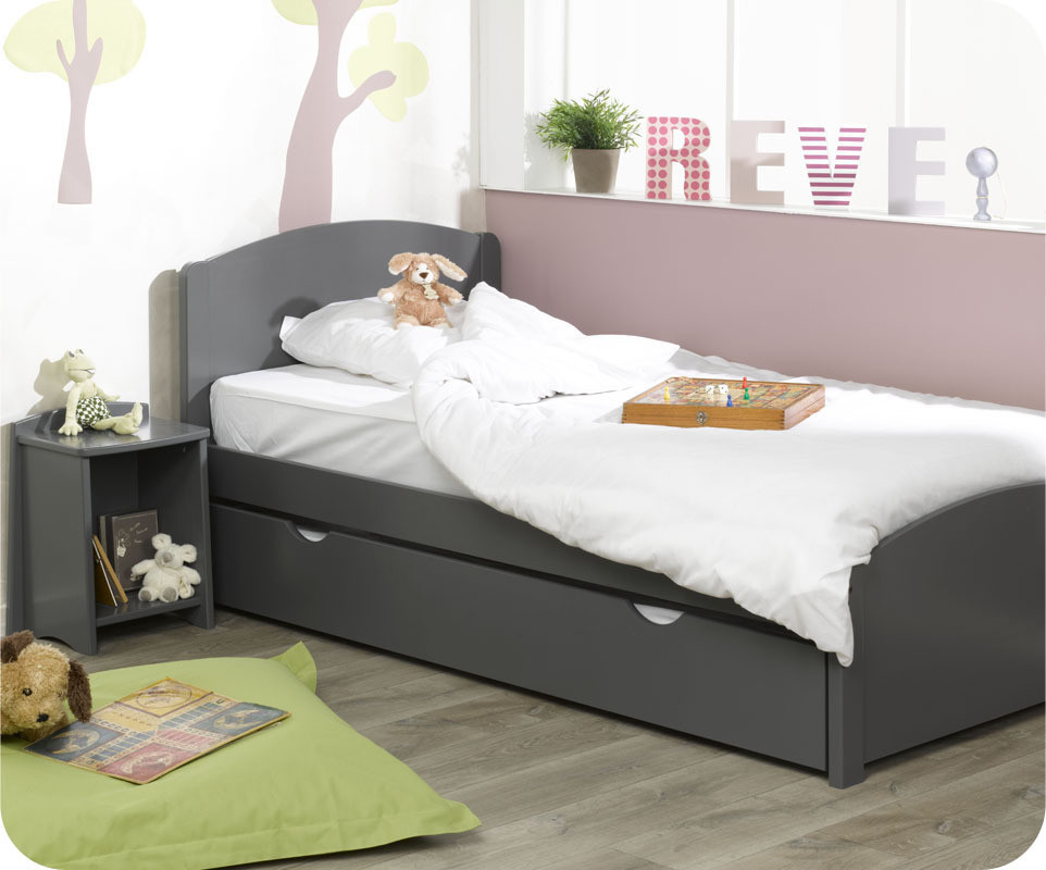 lit enfant nature gris anthracite 90x200 cm. Black Bedroom Furniture Sets. Home Design Ideas