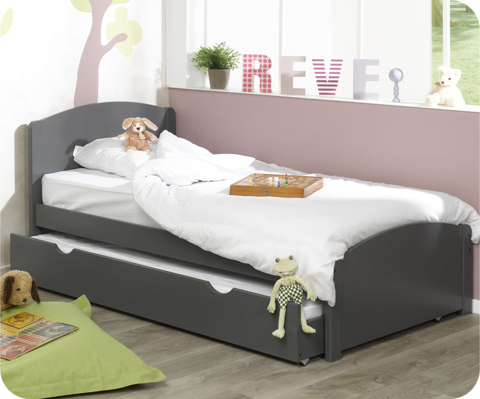 pack lit enfant nature gris 90x200 cm. Black Bedroom Furniture Sets. Home Design Ideas