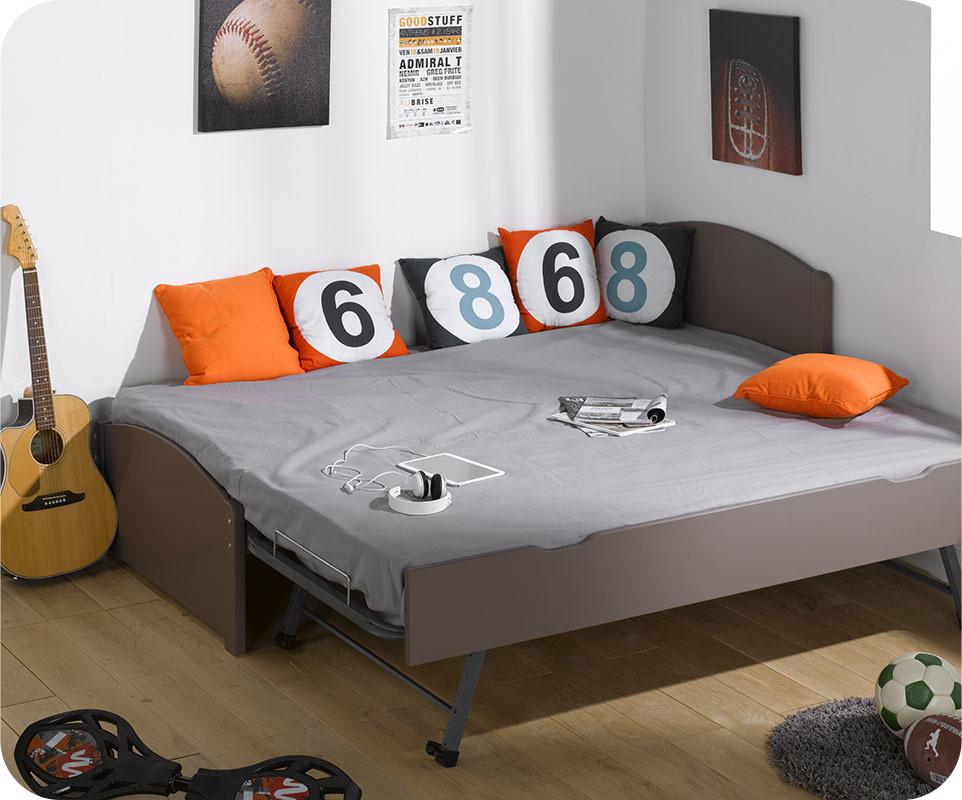 Pack lit gigogne nature taupe 90x200 cm avec 2 matelas - Matelas pour lit gigogne ...