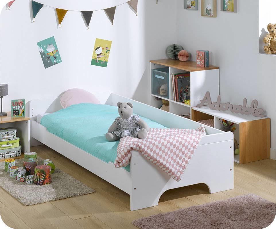 lit enfant teen blanc 90x200 cm mobilier fabrication fran aise. Black Bedroom Furniture Sets. Home Design Ideas