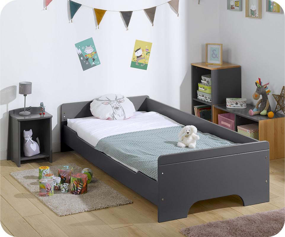 lit enfant teen gris anthracite 90x200 cm. Black Bedroom Furniture Sets. Home Design Ideas