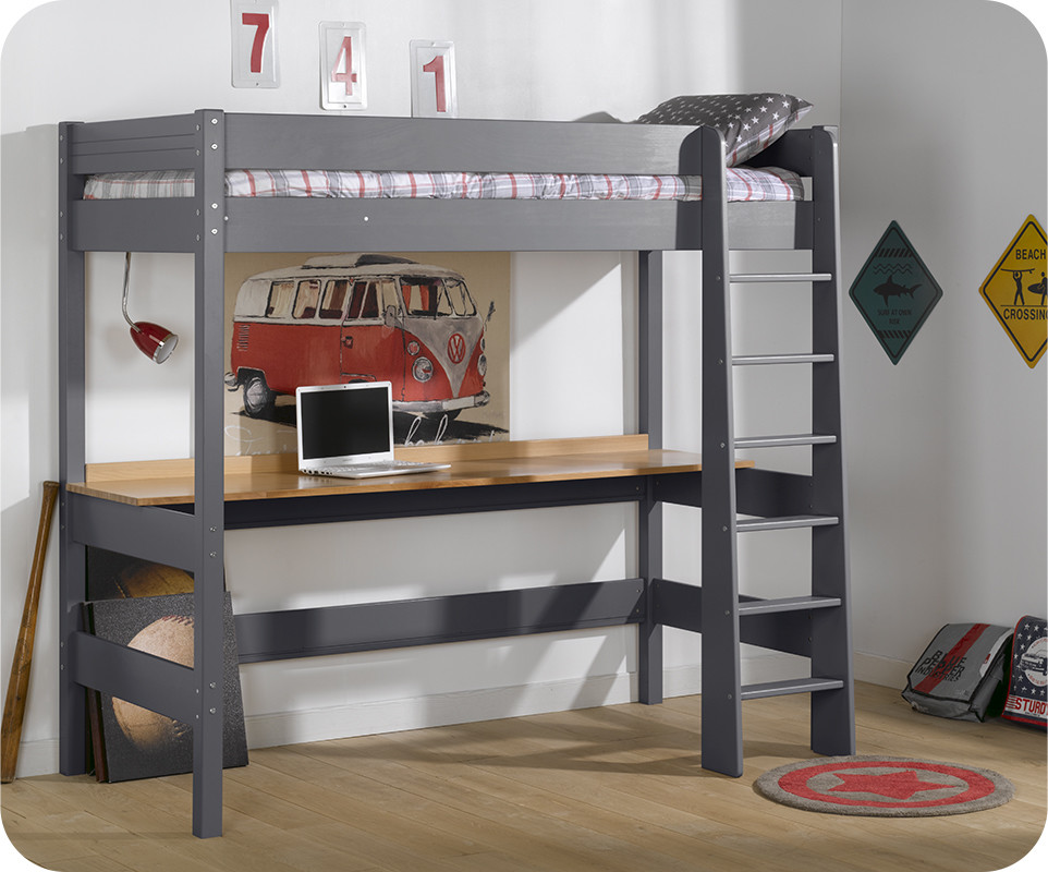 lit mezzanine enfant clay gris achat mobilier bois massif. Black Bedroom Furniture Sets. Home Design Ideas