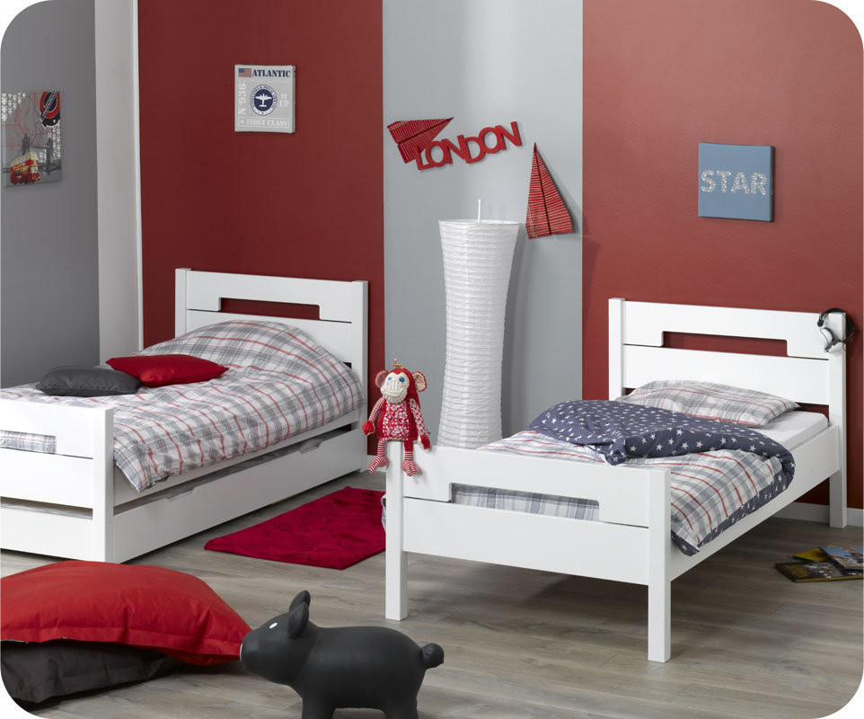 lit superpos bow blanc 90x190 cm avec sommier gigogne. Black Bedroom Furniture Sets. Home Design Ideas