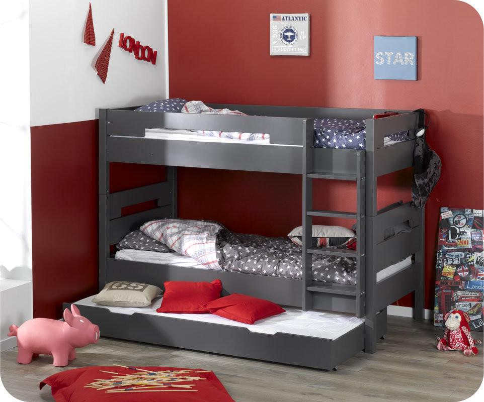 lit superpos bow gris anthracite 90x190 cm avec sommier gigogne. Black Bedroom Furniture Sets. Home Design Ideas