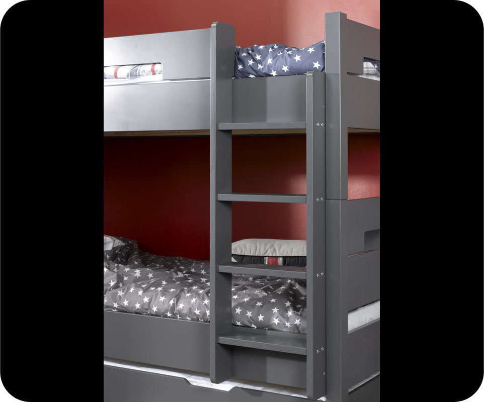 Lit superpos bow gris anthracite 90x190 cm avec sommier gigogne - Sommier gigogne 90x190 ...