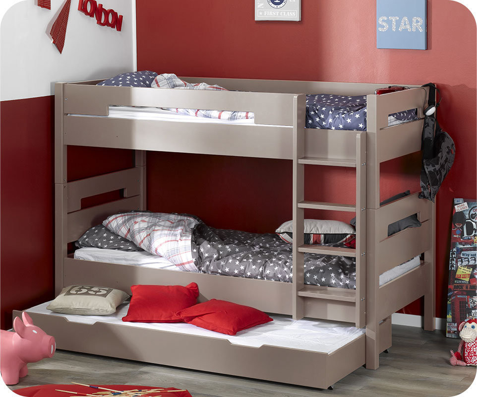 lit superpos bow lin 90x190 cm avec sommier gigogne. Black Bedroom Furniture Sets. Home Design Ideas