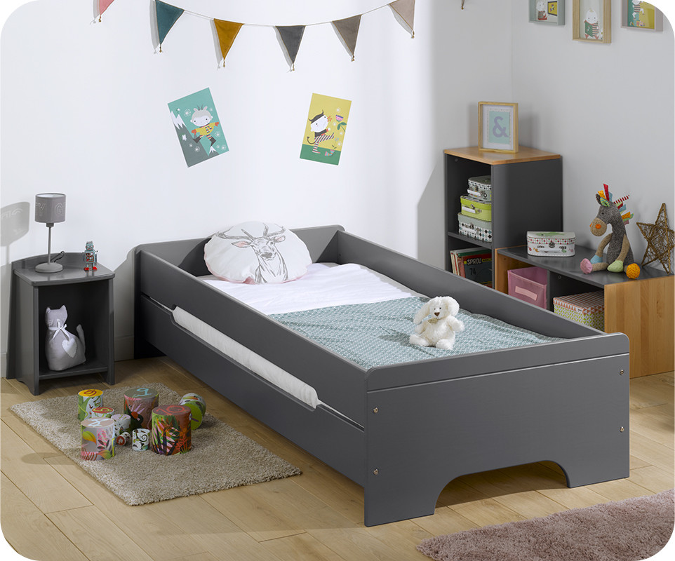 Lit enfant teen gris anthracite avec matelas for Photo lit enfant