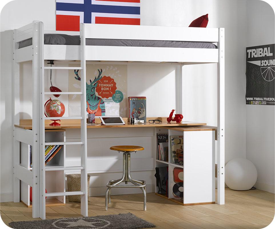 Lit mezzanine enfant clay blanc avec matelas - Lit mezzanine 4 places ...