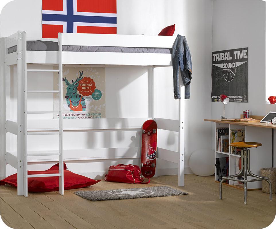 Lit mezzanine enfant clay blanc avec matelas vente lit - Lit mezzanine enfant avec bureau ...