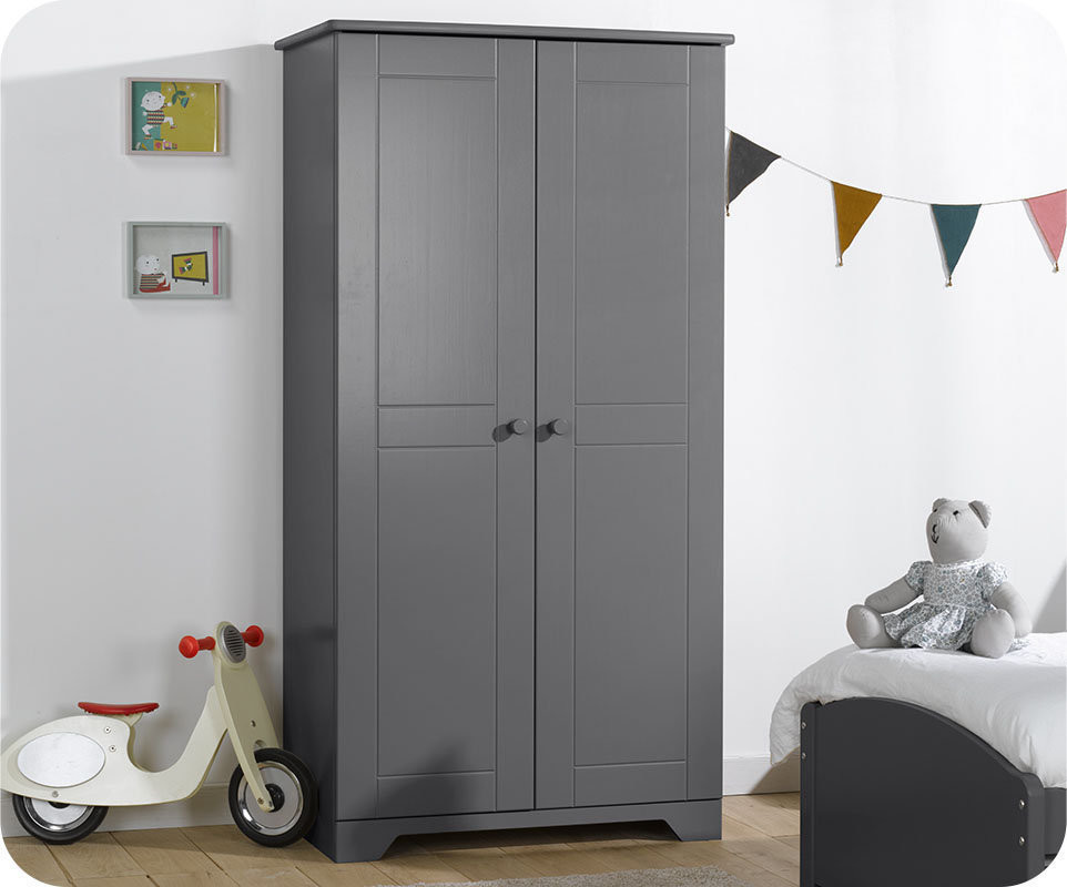 armoire b b nature gris anthracite achat armoire chambre b b. Black Bedroom Furniture Sets. Home Design Ideas