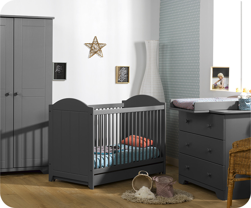 chambre b b nature gris anthracite achat vente chambre b b. Black Bedroom Furniture Sets. Home Design Ideas