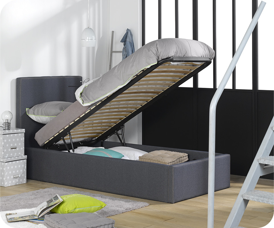 lit coffre jem blue jean 39 s 90x200 cm. Black Bedroom Furniture Sets. Home Design Ideas