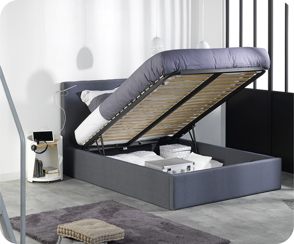 lit coffre jem blue jean 39 s 140x200 cm. Black Bedroom Furniture Sets. Home Design Ideas