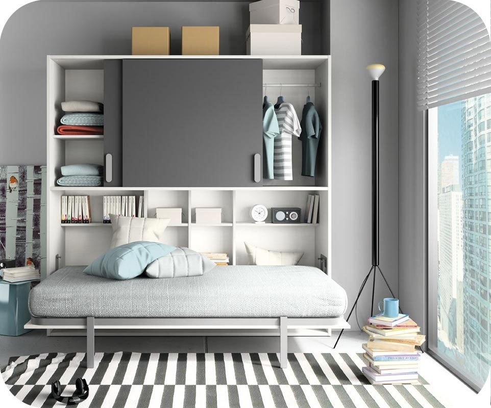 lit enfant escamotable planet blanc et gris anthracite. Black Bedroom Furniture Sets. Home Design Ideas