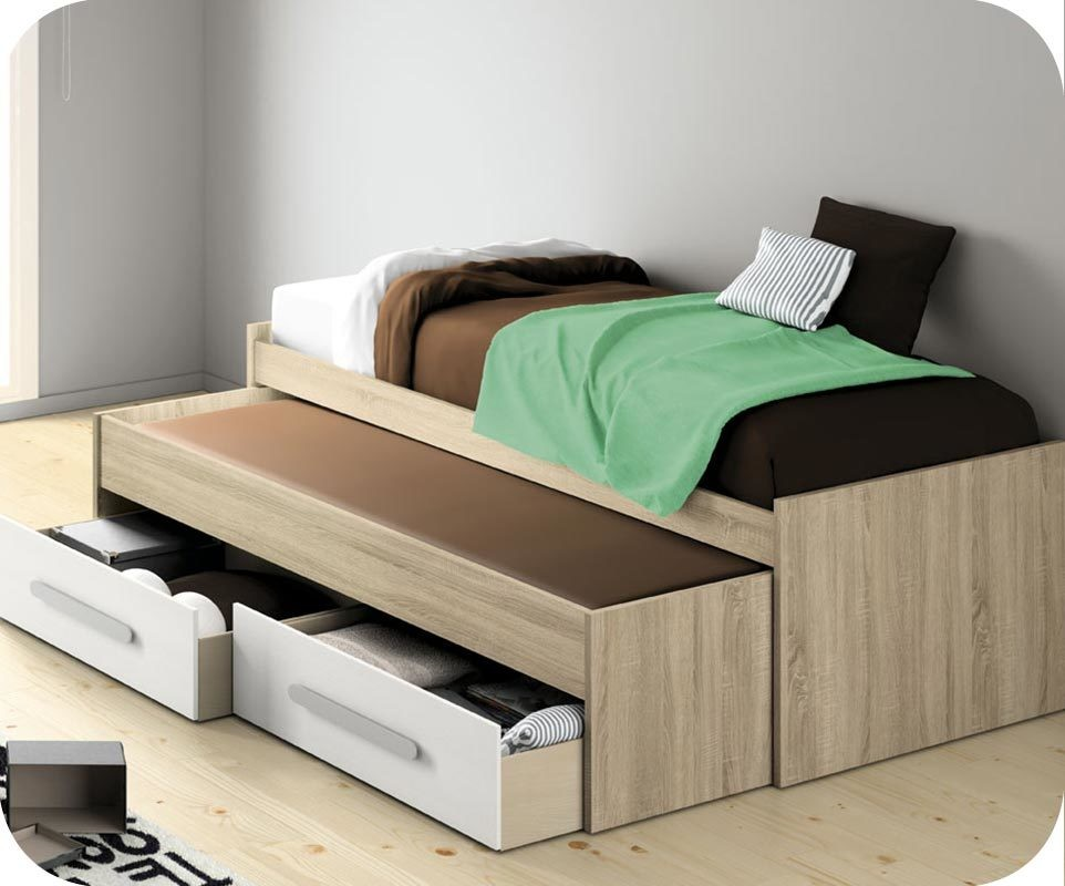 lit enfant gigogne planet blanc et ch ne avec rangements. Black Bedroom Furniture Sets. Home Design Ideas
