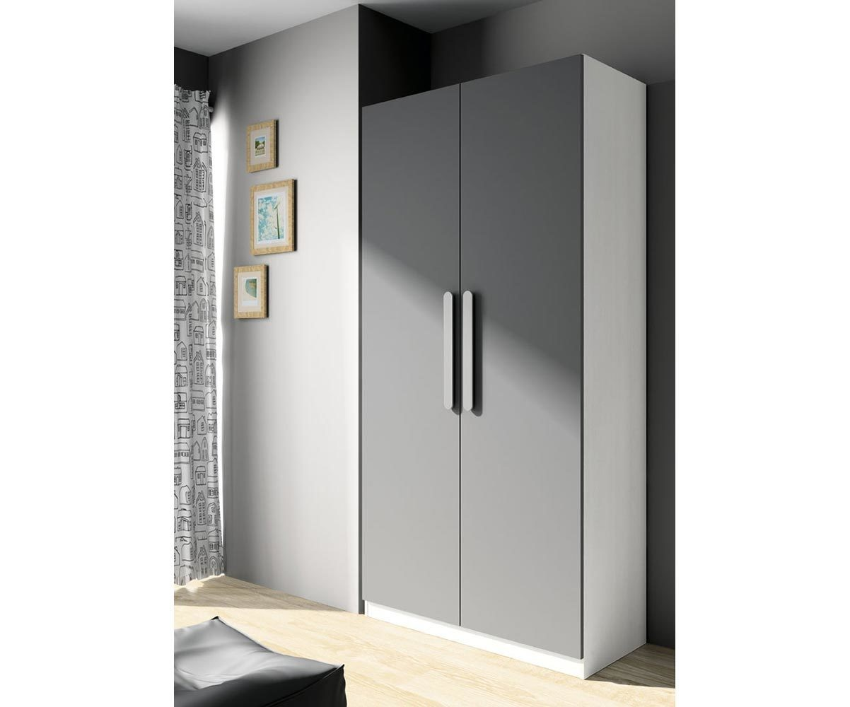 armoire enfant planet blanche et gris anthracite. Black Bedroom Furniture Sets. Home Design Ideas