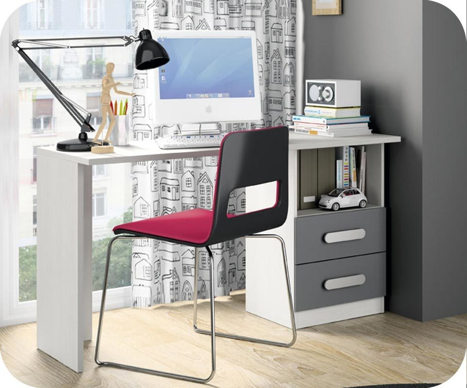 bureau enfant planet blanc et gris anthracite. Black Bedroom Furniture Sets. Home Design Ideas