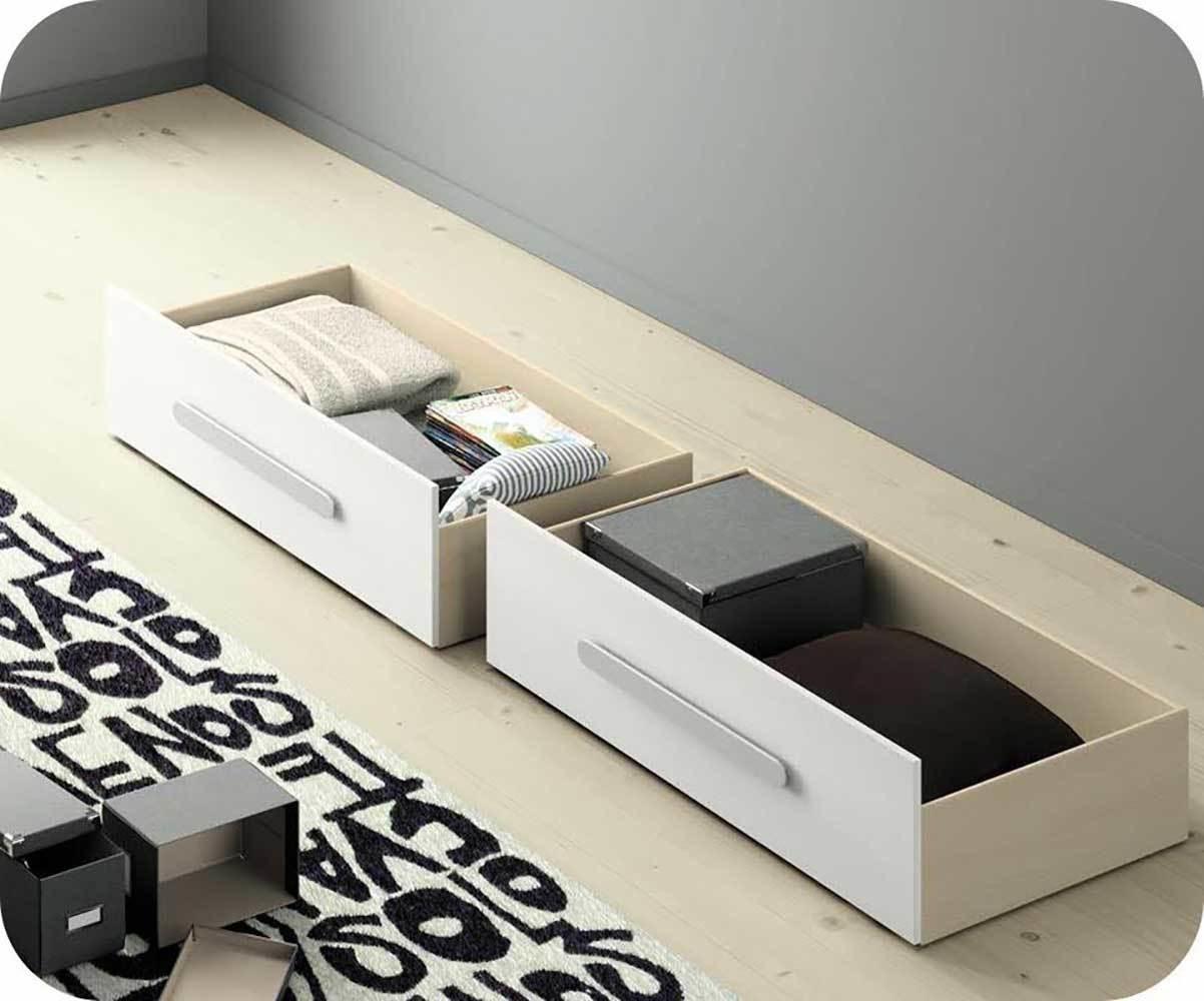 Tiroirs de rangement blanc pour lit gigogne planet for Rangement tiroir blanc