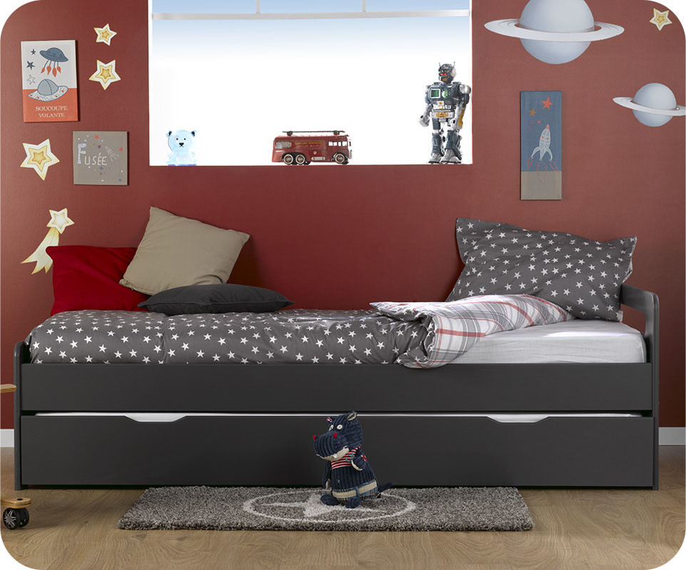 lit enfant gigogne eden gris anthracite 90x190 cm. Black Bedroom Furniture Sets. Home Design Ideas
