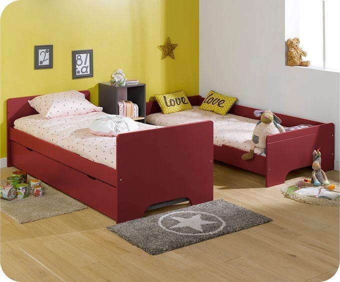 Lit superpos spark rouge basque et h tre 90x200cm avec sommier gigogne rouge - Lit superpose jumeaux ...