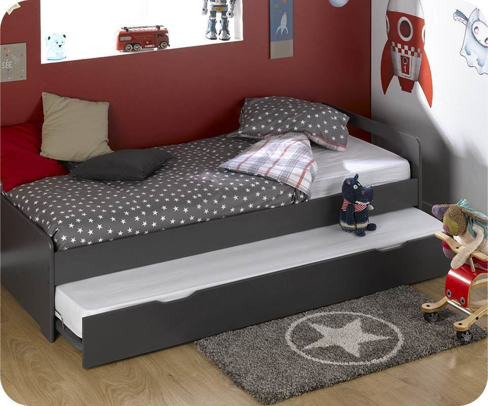lit enfant gigogne eden gris anthracite 90x190 cm avec 2. Black Bedroom Furniture Sets. Home Design Ideas