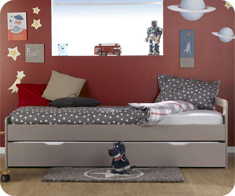 lit enfant gigogne eden lin 90x190 cm avec 2 matelas. Black Bedroom Furniture Sets. Home Design Ideas