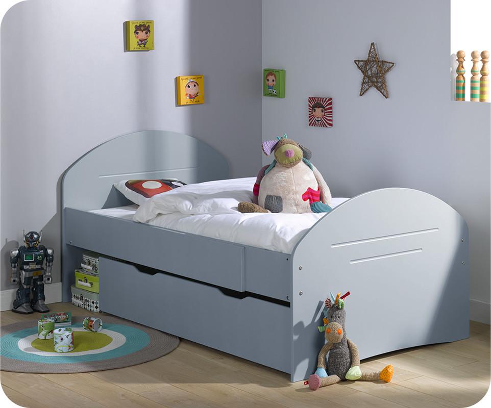 Pack lit enfant evolutif spoom bleu gris avec tiroir de lit et matelas - Lit evolutif avec tiroir ...