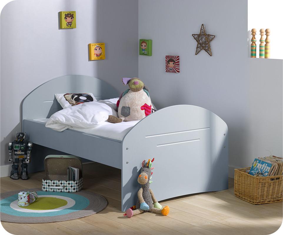 Pack lit enfant evolutif spoom bleu gris avec tiroir de for Matelas lit simple costco