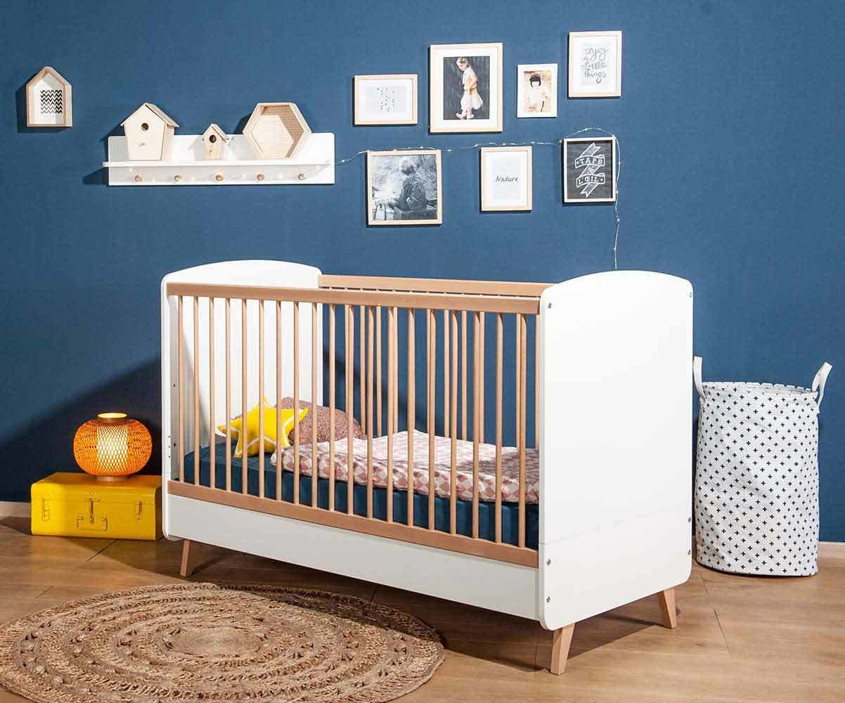 lit b b evolutif pepper blanc et bois 70x140 cm avec. Black Bedroom Furniture Sets. Home Design Ideas