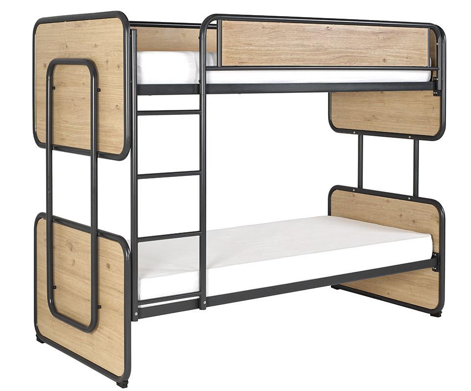 lit superpos enfant spiral gris ardoise et ch ne 90x200 cm. Black Bedroom Furniture Sets. Home Design Ideas