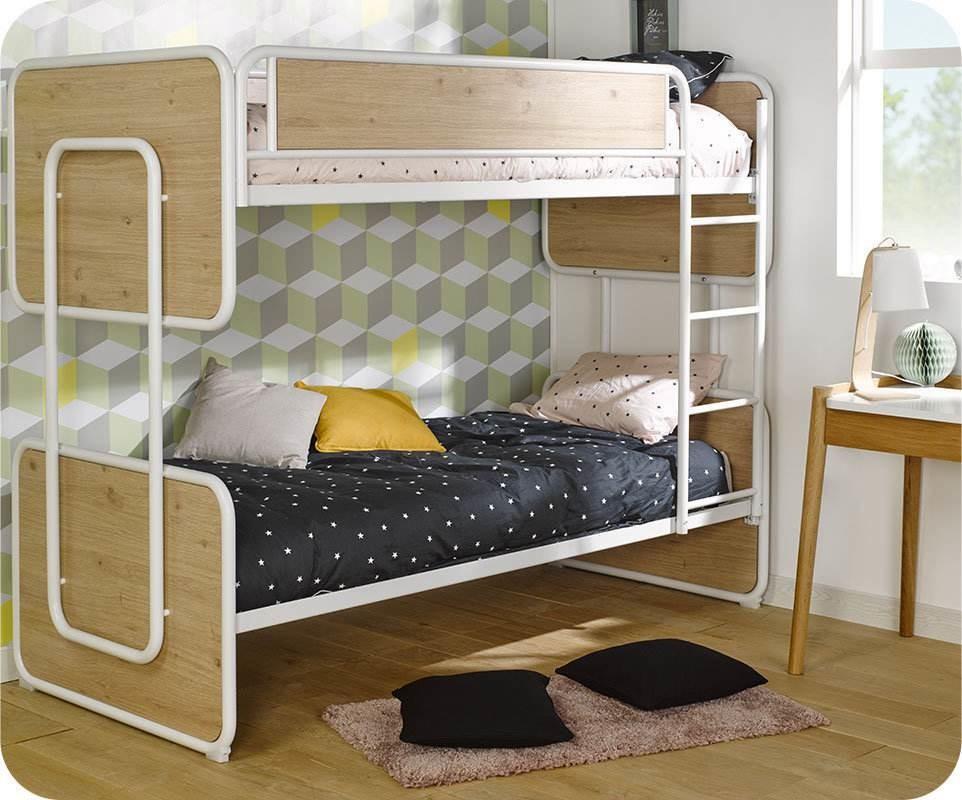 lit superpos enfant spiral blanc et ch ne 90x200 cm et matelas. Black Bedroom Furniture Sets. Home Design Ideas