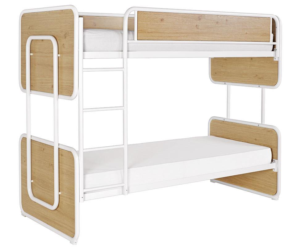 lit superpos enfant spiral blanc ch ne 90x200 cm avec sommier gigogne. Black Bedroom Furniture Sets. Home Design Ideas