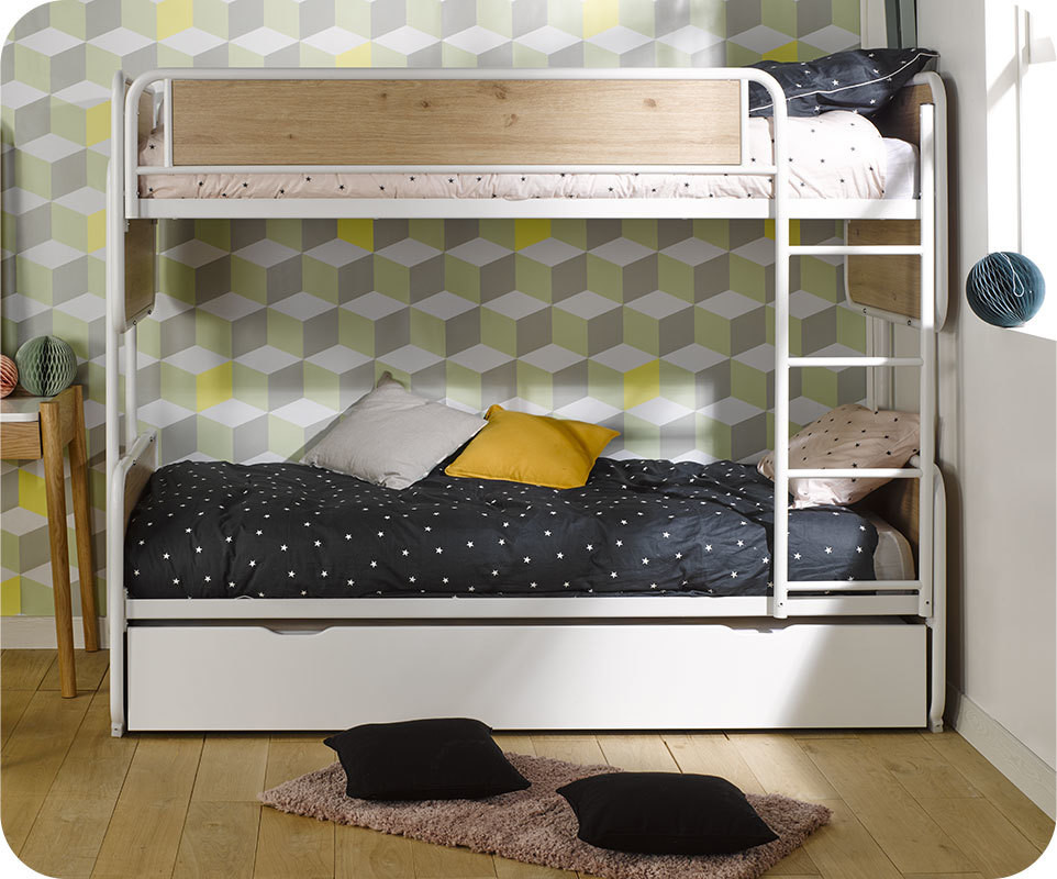 lit superpos enfant spiral blanc ch ne 90x200 cm avec sommier gigogne. Black Bedroom Furniture Sets. Home Design Ideas