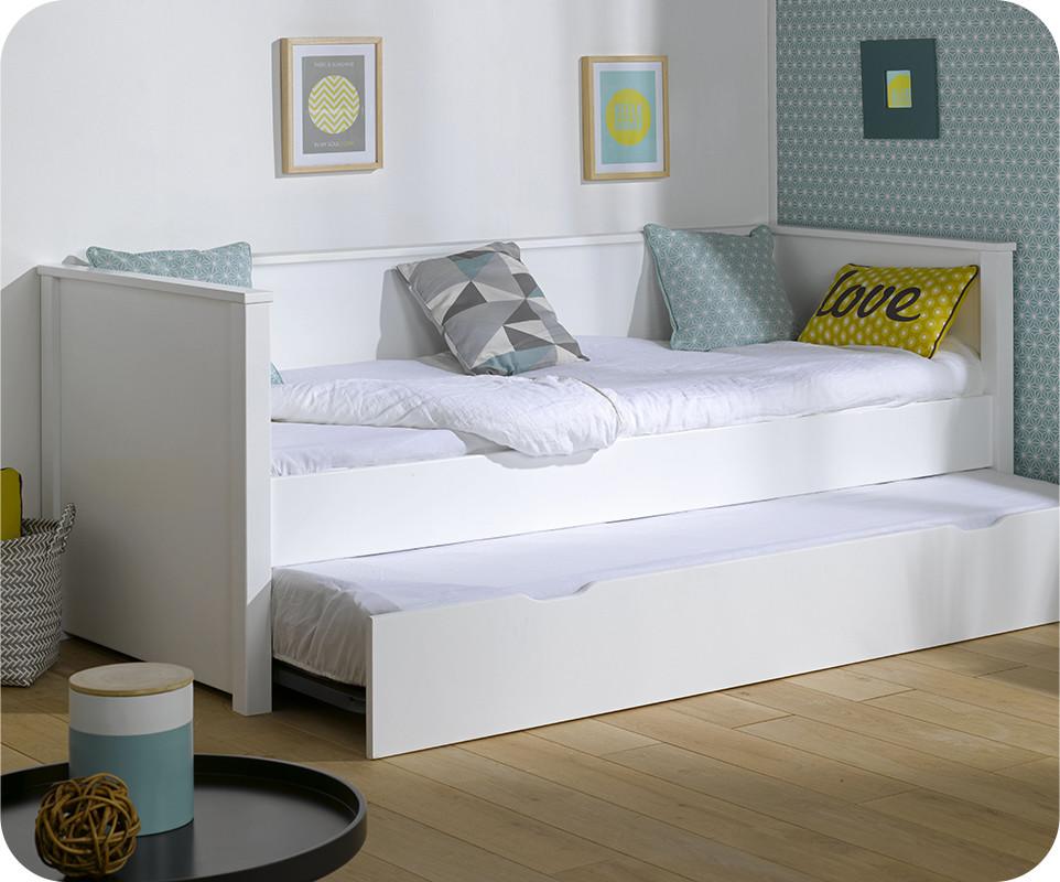 Pack lit gigogne nova blanc 80x200 cm avec 2 matelas - Destockage lit enfant ...