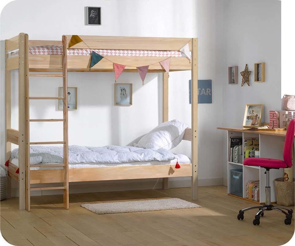 lit superpos enfant clay brut peindre 90x190 cm avec 2 matelas. Black Bedroom Furniture Sets. Home Design Ideas