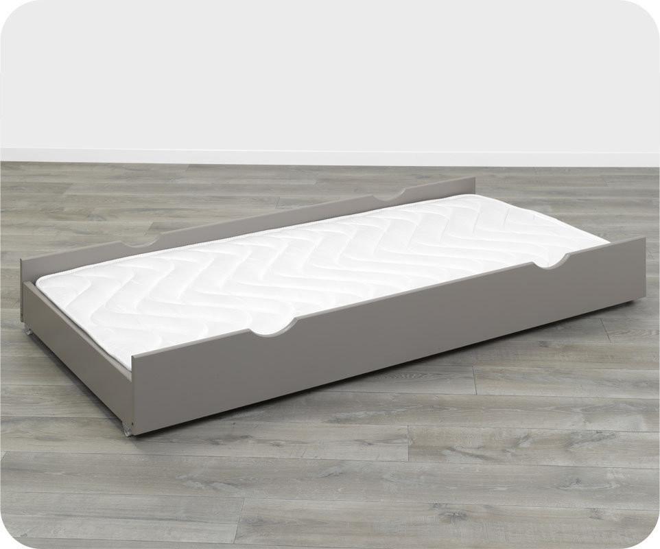 tiroir de lit bois massif lin 90x190 cm. Black Bedroom Furniture Sets. Home Design Ideas