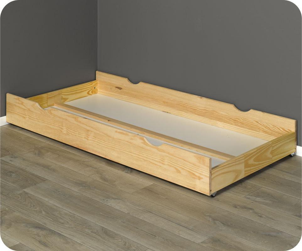 Tiroir de lit bois massif brut peindre 90x200 cm for Peindre un meuble en bois brut