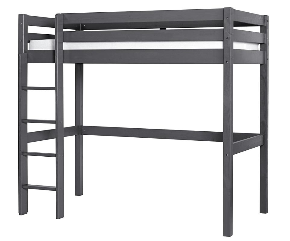 pack lit enfant mezzanine cargo gris anthracite 90x190 cm. Black Bedroom Furniture Sets. Home Design Ideas