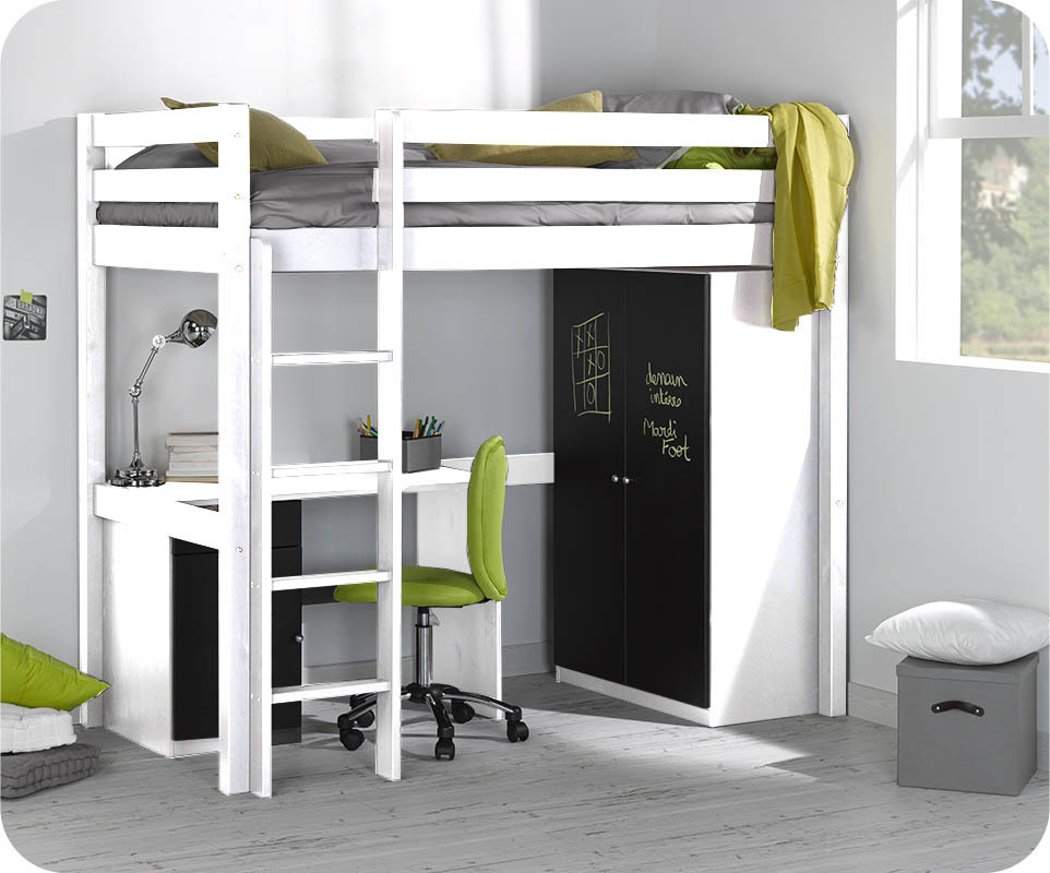 set lit enfant mezzanine cargo blanc 90x190 cm. Black Bedroom Furniture Sets. Home Design Ideas