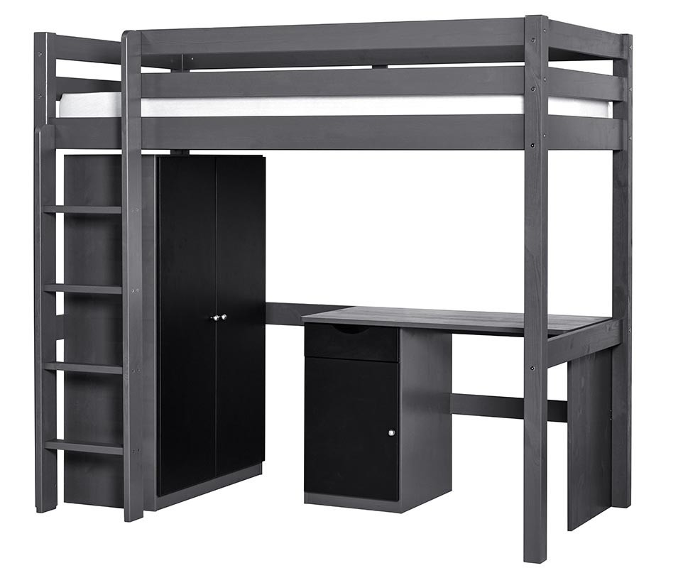 set lit enfant mezzanine cargo gris anthracite. Black Bedroom Furniture Sets. Home Design Ideas